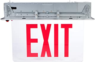 Morris Products LED Exit Sign – Recessed Mount Edge – Green on Clear Panel, Anodized Aluminum Housing – Compact, Low-Profile Design – Single Sided Legend – Energy Efficient, High Output – 1 Count