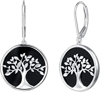 Agvana Sterling Silver Natural Black Onyx Tree of Life Leverback Dangle Drop Earrings Fine Jewelry Gifts for Women Mom Lover Family with Gorgeous Jewelry Box, Diameter 3/4