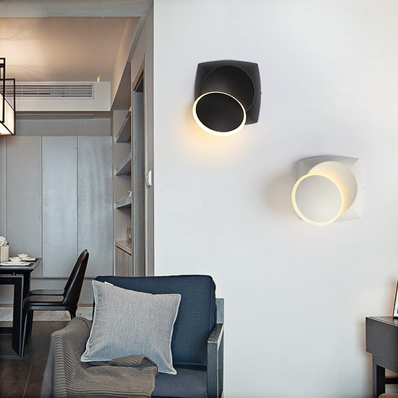 Schwarz-Wei-post-moderne Square Leseleuchten 360 ° drehbare Eisen Wandleuchte LED Schlafzimmer Nachttischlampe +A (Farbe   Wei)