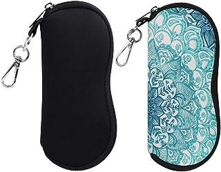 [2 Pack] Fintie Eyeglasses Case with Carabiner, Ultra Light Portable Neoprene Zipper Sunglasses Soft Case