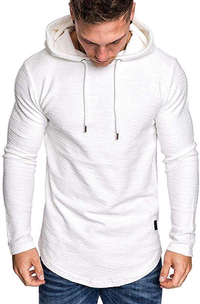 Sudadera con Capucha para Hombre Top Camiseta Deportiva de Manga Larga Jersey Ajustado de Color Sólido Pullover Sweatshirt Casual de Entranamiento