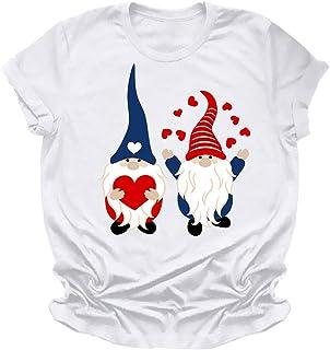 FELZ Camiseta para Mujer Día de San Valentín Moda Impresión Mujer Manga Corta Blusa Camiseta con Cuello Redondo Jersey Cha...