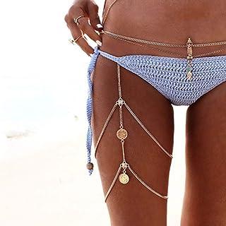 Jozape Boho Layered Leg Chain Gold Coin Body Chain Waist Chain Jewelry for Women and Girls