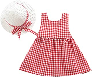 LiLiMeng 2019 New Toddler Kid Baby Girl Plaid Printed Bow Sleeveless Princess Dress+Hat Outfits Set Clothes