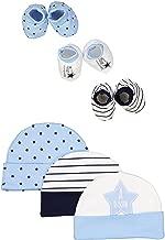 BornCare Unisex Baby 100% Cotton Cap and Bootie Set, 6 pieces