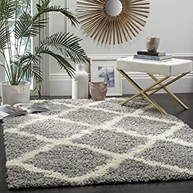 Safavieh Dallas Shag Collection SGD257G Grey and Ivory Area Rug (3' x 5')