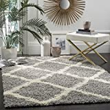 Safavieh Dallas Shag Collection SGD257G Trellis 1.5-inch Thick Area Rug, 8' x 10', Grey/Ivory