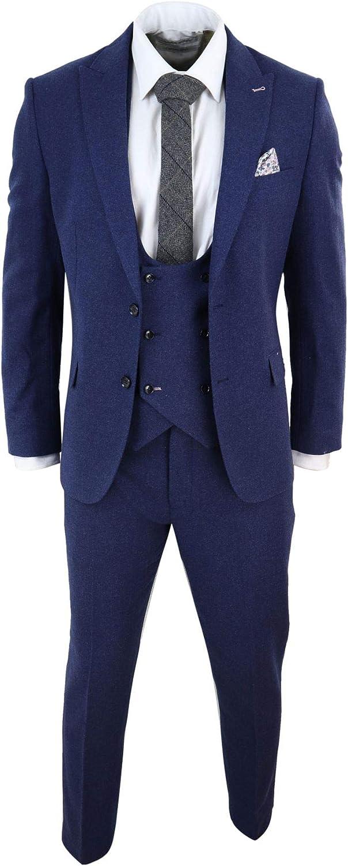 HARRY BROWN Men Wool 3 Piece Suit Blue Double Breast Waistcoat Short Reg Long