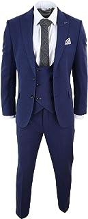 Men Wool 3 Piece Suit Blue Double Breast Waistcoat Short Reg Long