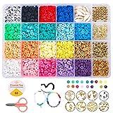 Juguete de Cuentas Coloridas 6mm, 3000 pcs 18 Colores Cuentas de Arcilla Polimérica Cuentas Planas, DIY Manualidad Fabricación Pulseras Joyas para Niños Adultas
