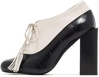 Jeffrey Campbell Autumn Black Croc Ivory Box Block Heel Tassle Lace up Heels