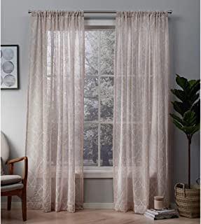 Exclusive Home Curtains Cali Embroidered Sheer Window Curtain Panel Pair with Rod Pocket, 50x108, Blush, 2 Piece