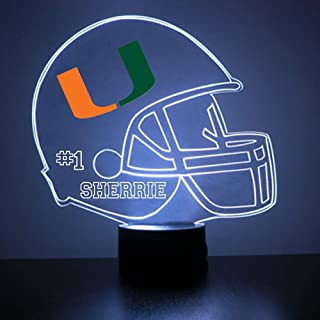 Mirror Magic Miami Hurricanes Light Up LED Lamp - Football Helmet Night Light for Bedroom with Free Personalization - Features Licensed Decal and Remote