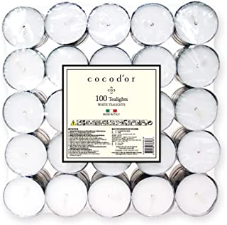 Cocod'or Unscented Tealight Candles 100 Pack, 5-8 Hour Extended Burn Time, Made in Italy