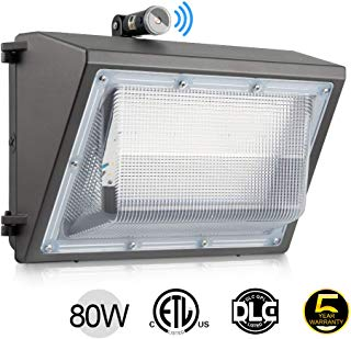 80W LED Wall Pack Lights with Photocell 10400LM Dusk-to-Dawn 5000K Commercial and Industrial Outdoor Security Lighting Fixture LED Flood Light IP65 Waterproof AC100-277V ETL DLC Listed