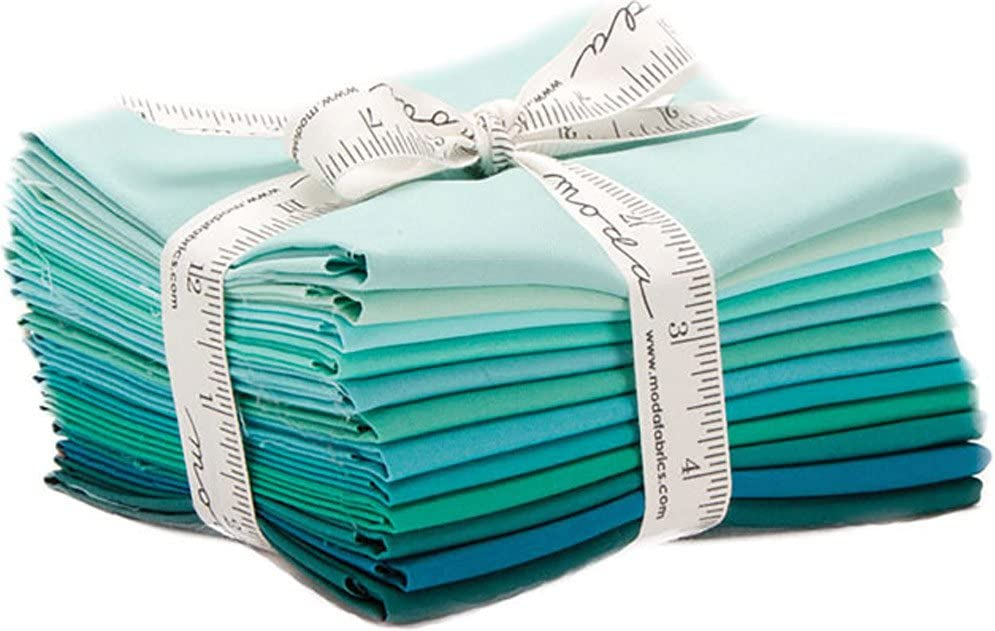 Surprise price SEAL limited product Bella Solids Teal 12 Fat Quarters 9900AB Moda 127 Fabrics