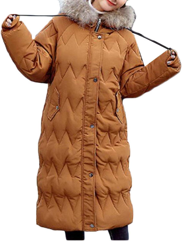 Etecredpow Womens Casual Faux Fur Hood Padded Puffer Outwear Parka Jackets Coat