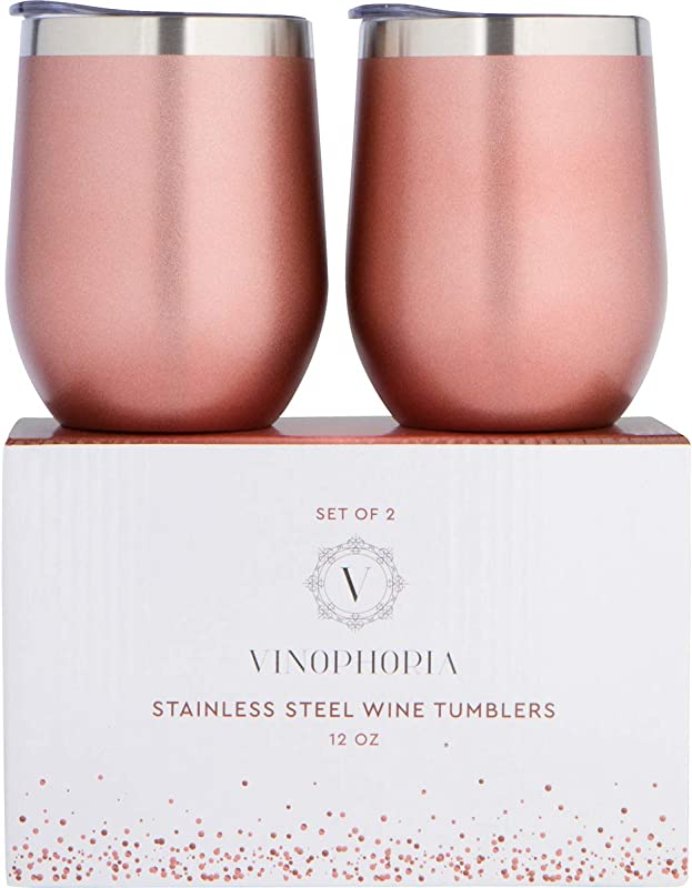 Vinophoria Stainless Steel Wine Tumblers Set 2 Unbreakable Stemless Wine Glasses W Lids BPA Free Vacuum Sealed Insulated Tumblers Shatterproof Travel Wine Goblets For Home Office BBQ Picnic 12Oz