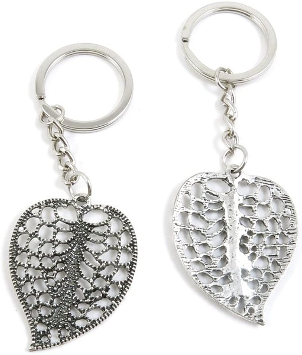 100 Pieces Keychain Keyring Door Car Key Chain Ring Tag Charms Bulk Supply Jewelry Making Clasp Findings U9AE8B Hollow Leaf