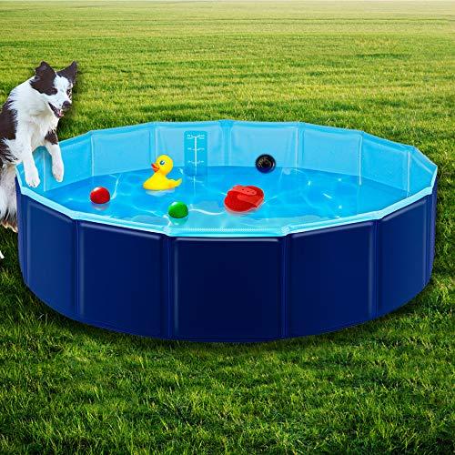 Forever Speed Hundepool, Doggy Pool, Katzenpool, Faltbares Pool, Kinderbadewann, Umweltfreundliche PVC, rutschfest, Gut Abgedichtet Haustiere Dunkelblau 160 * 30CM