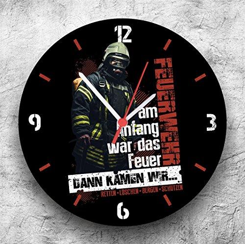 Roter Hahn 112 Hochwertige Feuerwehr Wanduhr UhrDann kamen wir/25cm/Geräucharm