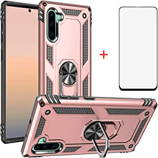 Phone Case for Samsung Galaxy Note 10 Cases with Tempered Glass Screen Protector Ring Holder Stand Glaxay Note10 10Note Ten Shockproof Back Cover Pink