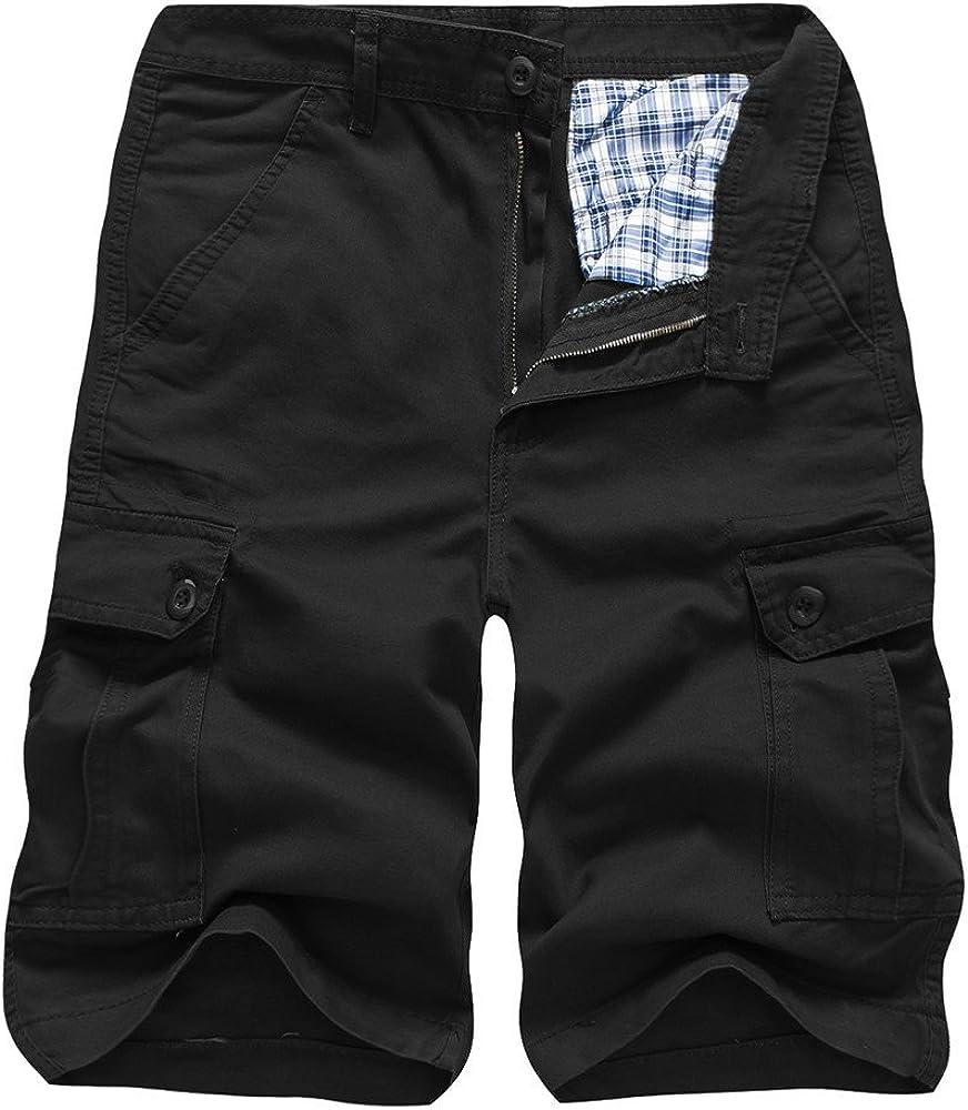 WUAI Mens Casual 55% OFF Loose Fit Big Multi-Pocket Cargo Shorts Army Popular