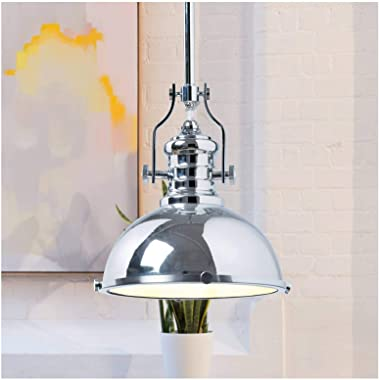 Parisian Pendant Light, Chrome with White Interior Chrome/wh & Frosted Glass