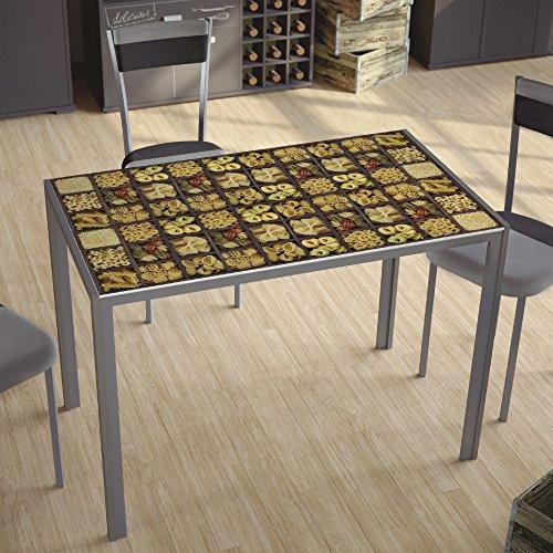 Mesa para cocina fija con tablero de cristal templado serigrafiado pasta 105x60cm