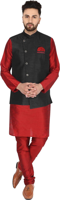 SKAVIJ Max 82% OFF Men's Dupion Art New product Silk Waistcoat and Jacket Pajama Kurta