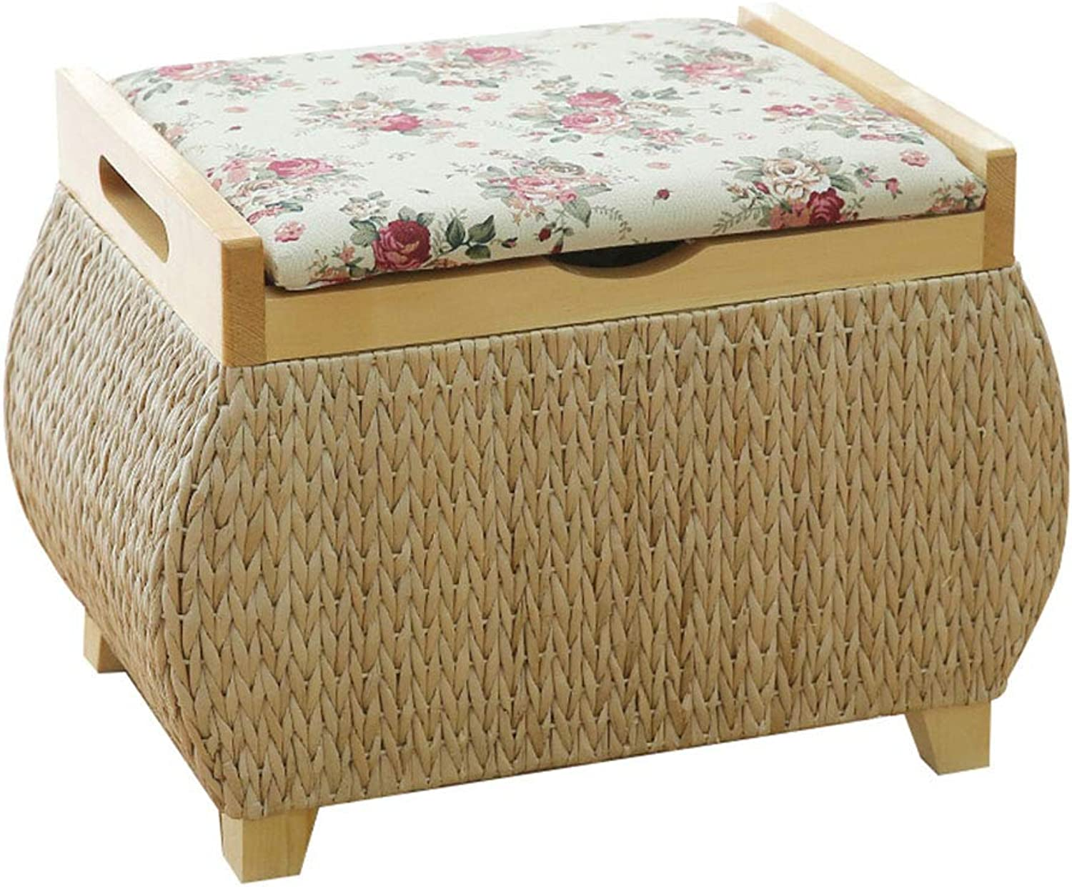 Storage Stool shoes Bench Hand-Woven Grass Rectangular Multi-Function Stool