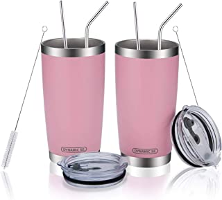 DYNAMIC SE 20oz 2pcs Tumblers Double Wall Stainless Steel Vacuum Insulated Travel Mug with Splash-Proof Lid Metal Straw and Brush
