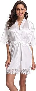 Women's Short Robe Lace Trim Satin Kimono Robe Soft Silk Bathrobe Loungewear