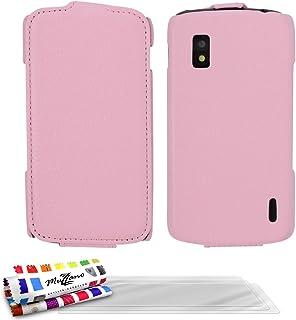 "MUZZANO 折叠手机套带"" Open 翻盖"" - 搭扣适用于 Lg Nexus 4 粉红色3D屏保"