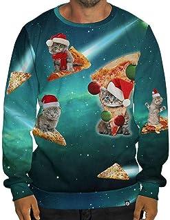 NPRADLA Clearance Promotion Men Oversize S-3XL Hoodies Casual Autumn Winter 3D Christmas Print Long Sleeve O-Neck Sweatshi...