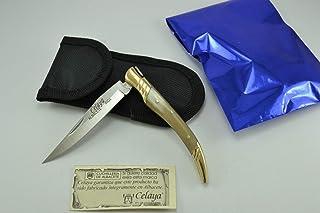 Couteau Celaya Stiletto Laiton Corne Taureau 8 cm