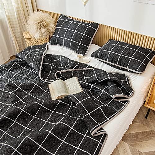 Schwarzes Gitter-Bettwäsche-Set, schwarz-weiß, kariert, Tagesdecke, Mini-Gittermuster, geometrisches Karomuster, Bettwäsche-Set, 1 Steppdecke, 2 Kissenbezüge (schwarz, King-Size)