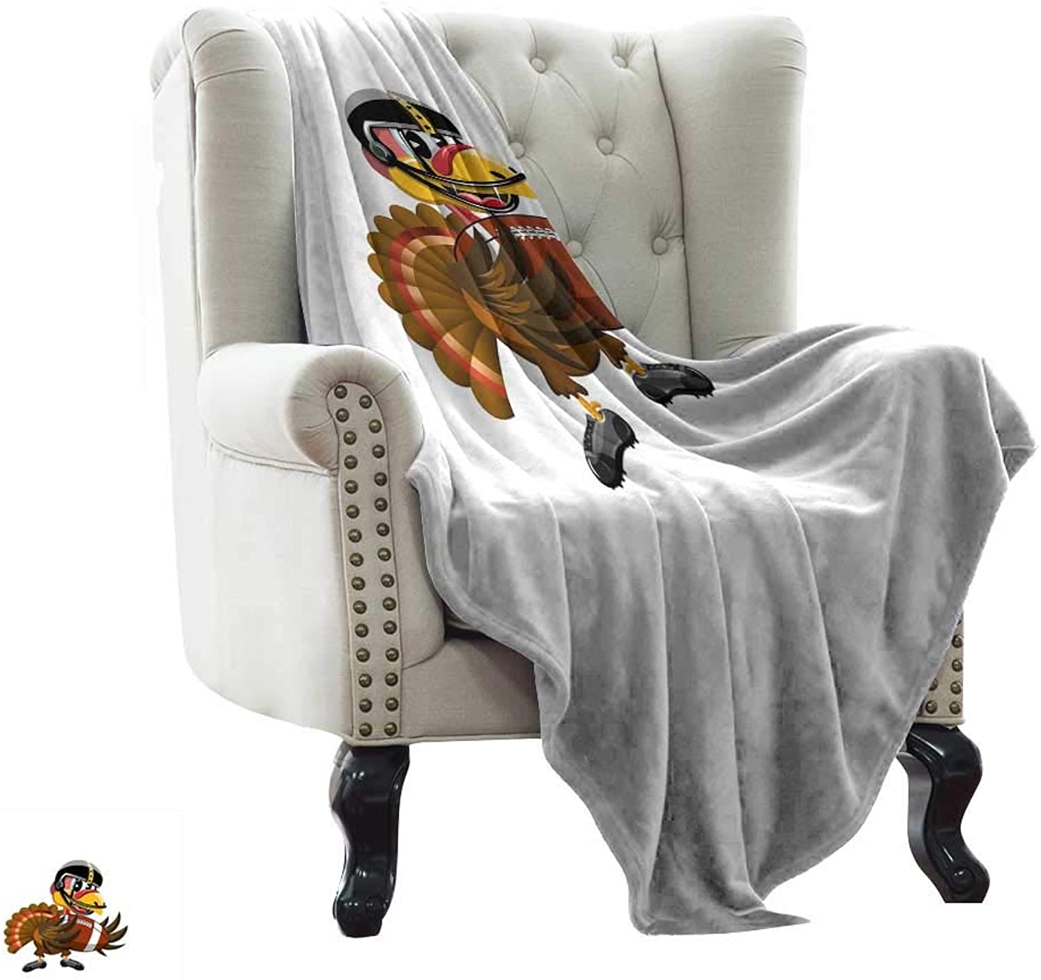 Bed Blanket Turkey,American Football Player Bird in Cartoon Style Funny Animal Character Sports Theme,Multicolor All Season Light Weight Living Room Bedroom 35 x60