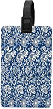 HappyToiletLidCoverX Indigo And White William Morris Pattern Travel ID Label for Bag with Strap,Luggage Tag Travel Baggage Tags