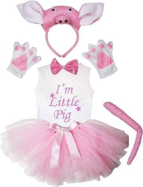 Petitebelle Estoy Cerdito camisa 1-8y muchacha del tutú del traje del cerdo rosado diadema de 5 piezas 6-8 Año Rosa claro