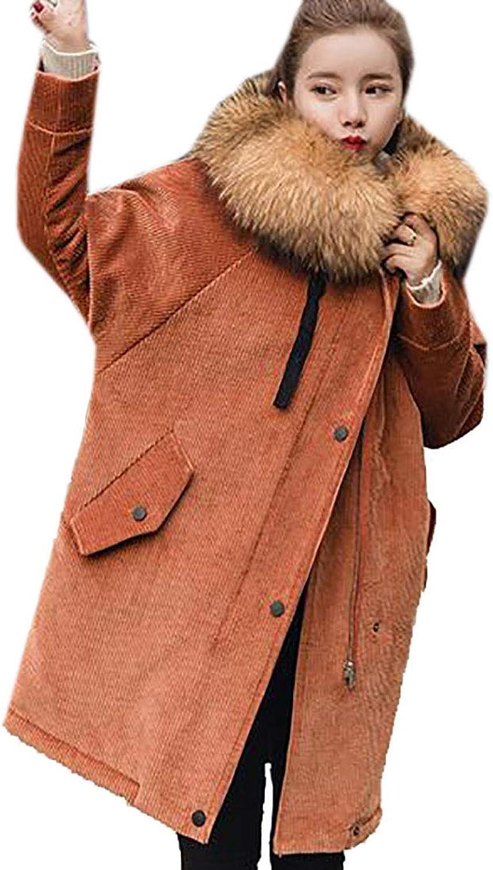 MU2M Women Faux Fur Collar Outwear Hoodie Corduroy Loose Winter Warm Parka Coats Brown US M