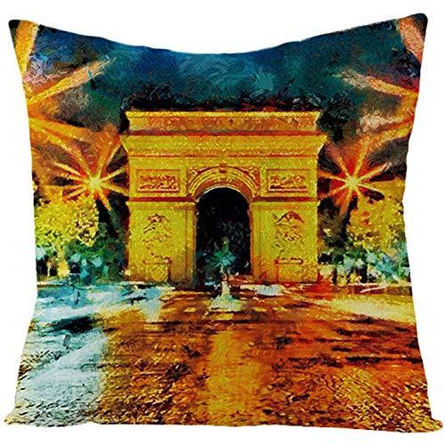 KnBoB Funda de Almohada Lino Pintura de Arte del Arco de Triunfo de París Oro Verde 50 x 50 cm Estilo 3