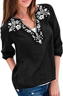 DIDWZW Women Blouse Tops Casual Loose Cotton And Linen Three Quarter Sleeve Embroidered Peasant Boho Print Shirts
