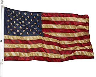 American Tea Stained Flag Old - 3x5 Vintage Style Aged US Super Polyester Flags Outdoors Indoors - UV Protect Printing Quality with Brass Grommets Double Stitched