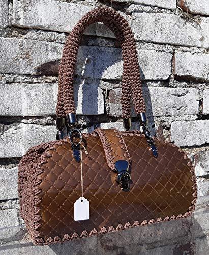 Braun Lack Schultertasche Gesteppte HandtascheUnikat schokoladenbraune gestrickte Tasche in einer einzigen Kopie