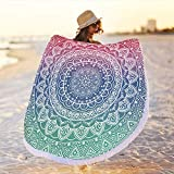 Large Round Microfiber Mandala Beach Towel Blanket,Circle Fringe Bohemian Boho Hippy Gypsy Towel,Quick Dry Thick Throw Tapestry Yoga Mat Picnic Table Cover,Ultra Soft Super Water Absorbent Pink & Blue