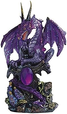 StealStreet Le Elegant Purple Dragon Standing with Sword On Rock Collectible Figurine Statue, 7871351