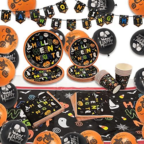 Halcyerdu Vajilla de Halloween, 66 Pcs Fiesta de Vajilla de Halloween, Platos de Papel, Servilletas, Vasos de Papel, Pancartas, Manteles, Juego de Vajilla de Fiesta de Halloween para 16 Personas