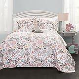 Lush Decor Pixie Fox Quilt Reversible 3 Piece Bedding Set - Gray/Pink - Twin Quilt Set