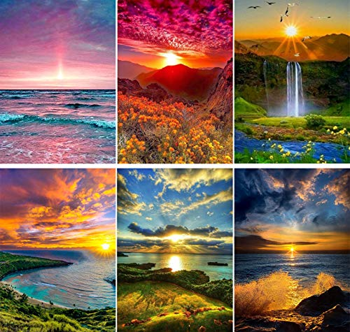 SIIYIX 6 Sets 5d Diamond Painting Art Dotz Paint by Numbers Kits Full Drill for Adult Kids Sunset Sea Mountain Waterfall for Home Wall Decor, 12×16 INCH